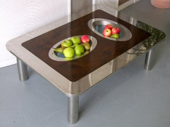 Table in Walnut and Stainless Steel